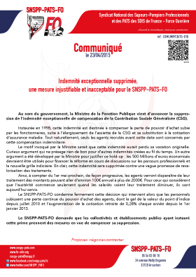 Suppression de l'indemnité compensatrice de la CSG