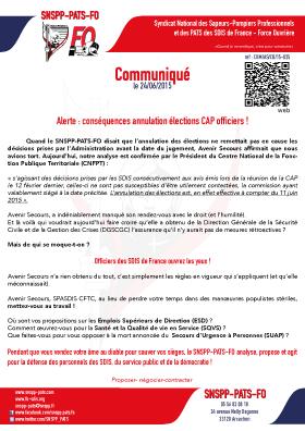Alertes : conséquences annulation élections CAP Officiers !