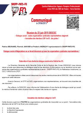 Réunion du 23 juin 2015 DGSCGC